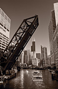 Chicago Black White Metal Prints - Chicago River Traffic BW Metal Print by Steve Gadomski