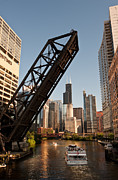 Railroad Metal Prints - Chicago River Traffic Metal Print by Steve Gadomski