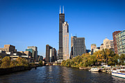 Architecture Metal Prints - Chicago River with Willis-Sears Tower Metal Print by Paul Velgos