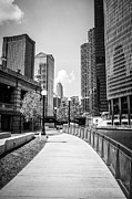 Riverwalk Photo Prints - Chicago Riverwalk Black and White Picture Print by Paul Velgos