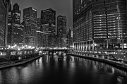 City Lights Posters - Chicago Riverwalk Poster by Eddie Yerkish