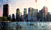 Urban Buildings Digital Art Prints - Chicago Skyline 1 and painted Newspaper Print by Anita Burgermeister