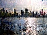 Skylines Digital Art Prints - Chicago Skyline 2 and painted Newspaper Print by Anita Burgermeister