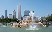 Skyscapers Prints - Chicago Skyline and Fountain Print by Ann Horn