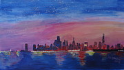 Skyline Paintings - Chicago Skyline at Daybreak by M Bleichner
