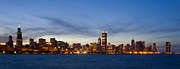 Wide Angle Prints - Chicago Skyline at Dusk Print by Adam Romanowicz