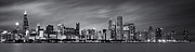 Front Posters - Chicago Skyline at Night Black and White Panoramic Poster by Adam Romanowicz