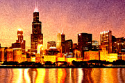 Illinois Digital Art Framed Prints - Chicago Skyline at Night Digital Painting Framed Print by Paul Velgos