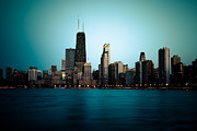 Chicago Prints - Chicago Skyline at Night Time Print by Paul Velgos