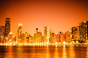Chicago Art - Chicago Skyline at Night with Orange Sky by Paul Velgos