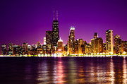 Purple Building Framed Prints - Chicago Skyline at Night with Purple Sky Framed Print by Paul Velgos