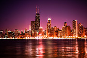 Chicago Art - Chicago Skyline at Night with Violet Sky by Paul Velgos