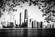 Lakefront Framed Prints - Chicago Skyline Black and White Picture Framed Print by Paul Velgos