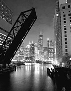 Chicago Black White Metal Prints - Chicago Skyline - Black and White Sears Tower Metal Print by Horsch Gallery