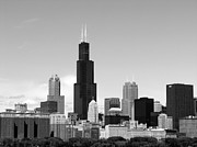 Chicago Skyline Bw Metal Prints - Chicago Skyline Metal Print by C Ray  Roth