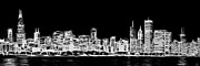 White Prints - Chicago Skyline Fractal Black and White Print by Adam Romanowicz