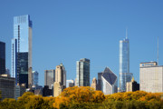 Prudential Prints - Chicago skyline from Millenium Park III Print by Christine Till