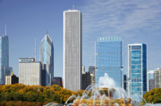 Two Towers Framed Prints - Chicago skyline from Millenium Park IV Framed Print by Christine Till