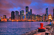 Night Scenes Posters - Chicago Skyline from Navy Pier Poster by Ken Smith