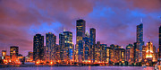 Night Photographs Art - Chicago Skyline from Navy Pier view 2 by Ken Smith