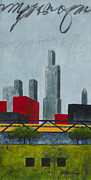 Skylines Mixed Media Framed Prints - Chicago Skyline I Framed Print by Sandra Neumann Wilderman