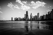 Chicago Prints - Chicago Skyline in Black and White Print by Paul Velgos