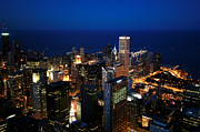 Arial View Photos - Chicago Skyline by Ken Reardon