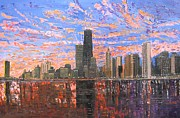 Skylines Painting Posters - Chicago Skyline - Lake Michigan Poster by Mike Rabe