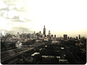 Rain Digital Art Metal Prints - Chicago Skyline Metal Print by Mike Maher