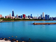 Jogging Framed Prints - Chicago Skyline Framed Print by Mountain Dreams
