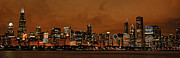 Night Scenes Posters - Chicago Skyline Panorama at Dusk Poster by Ken Smith