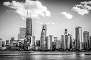 Lakefront Framed Prints - Chicago Skyline Picture in Black and White Framed Print by Paul Velgos