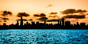 Chicago Attractions Posters - Chicago Skyline Silhouette Poster by Semmick Photo