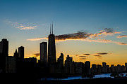 Chicago Illinois Posters - Chicago Skyline Silhouette Poster by Steve Gadomski