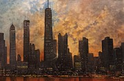 Chicago At Night Paintings - Chicago Skyline Silhouette by Tom Shropshire