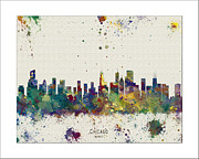 Boston Skyline Paintings - Chicago Skyline by WaterColorMaps Chris and Mary Ann