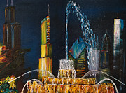 Impressionism Modern and Contemporary Art  By Gregory A Page - Chicago Skyline with...