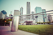 Illinois Framed Prints - Chicago Skyline with Pritzker Pavilion Vintage Picture Framed Print by Paul Velgos