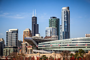Arena Prints - Chicago Skyline with Soldier Field and Sears Tower  Print by Paul Velgos