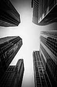 Exterior Prints - Chicago Skyscrapers in Black and White Print by Paul Velgos