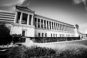 Nfl Photo Prints - Chicago Solider Field Black and White Picture Print by Paul Velgos