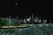 Chicago Digital Art Metal Prints - Chicago Starry Night Metal Print by Dancin Artworks