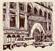 Printed Drawings Posters - Chicago Stock Exchange Building Poster by Robert Birkenes