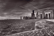 Sunrise Posters - Chicago Sunrise BW Poster by Steve Gadomski