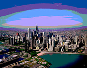 Chicago Sunset Print by Charles Shoup