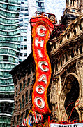 Famous Landmark Posters - Chicago Theater Sign Digital Painting Poster by Paul Velgos