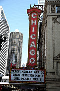 Chicago Photography Mixed Media Posters - Chicago Theater with Watercolor Effect Poster by Frank Romeo