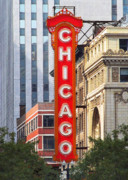 Commercial Building Posters - Chicago Theatre - A classic Chicago landmark Poster by Christine Till