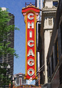 Illinois Painting Framed Prints - Chicago Theatre Framed Print by Danny Smythe