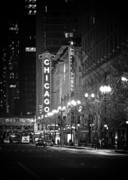 Night Scenes Framed Prints - Chicago Theatre - Grandeur and Elegance Framed Print by Christine Till